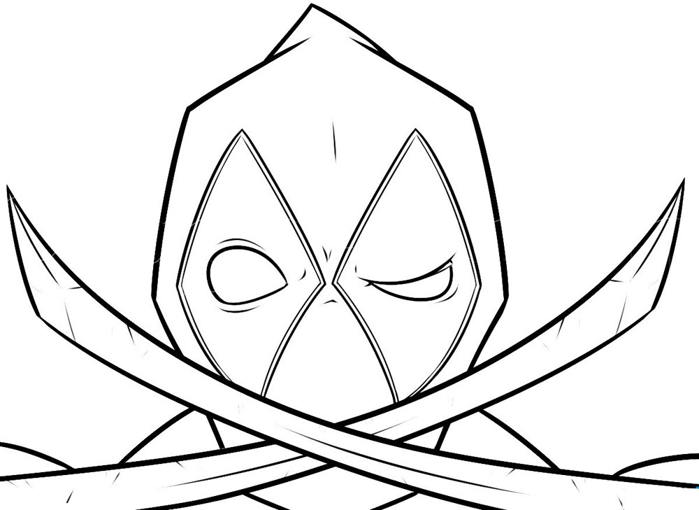 Deadpool Black And White Easy Drawings Sketch Coloring Page